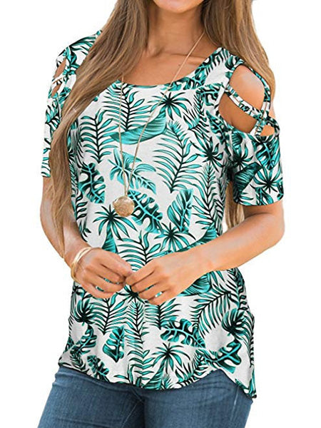 Womens Floral Blouse Loose Strappy Cold Shoulder Tops Casual T Shirts