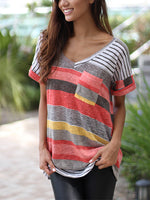 Women's Fashion Stripes Printed T-shirt V-neck Irregular Loose Casual Short Sleeve Plus Size
