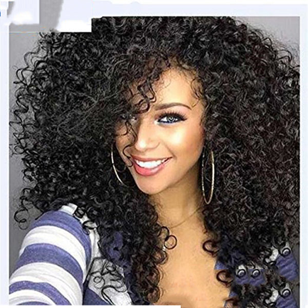 Women Free Parting Natural Black Curly Wave Hair Wig
