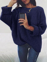 Sweater - Solid Color Round Neck Casual Sweater