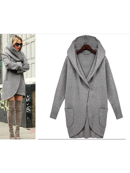 Coat - Long Sleeve Loose Hoodie Pocket Coat