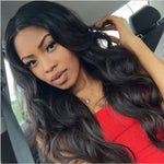 Women Middle Part Natural Black Body Wave Hair Wig