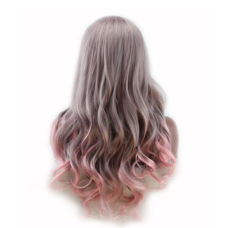 Women Free Parting Ombre Gray Pink Body Wave Hair Wig