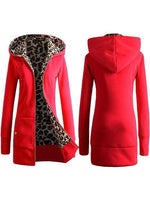 Hooded Leopard Printed Long Sleeve Pocket Zipper Coats