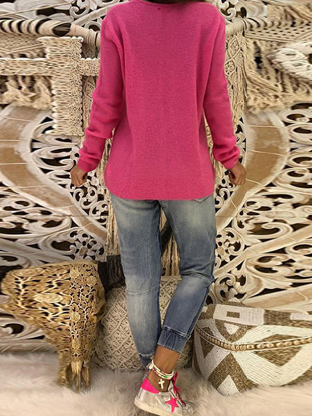V Neck Long Sleeve Plain Knitting Sweaters