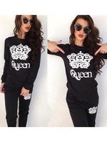 Queen Crown Pattern Printing Two-pieces Long-sleeved Sweater Sports Suit