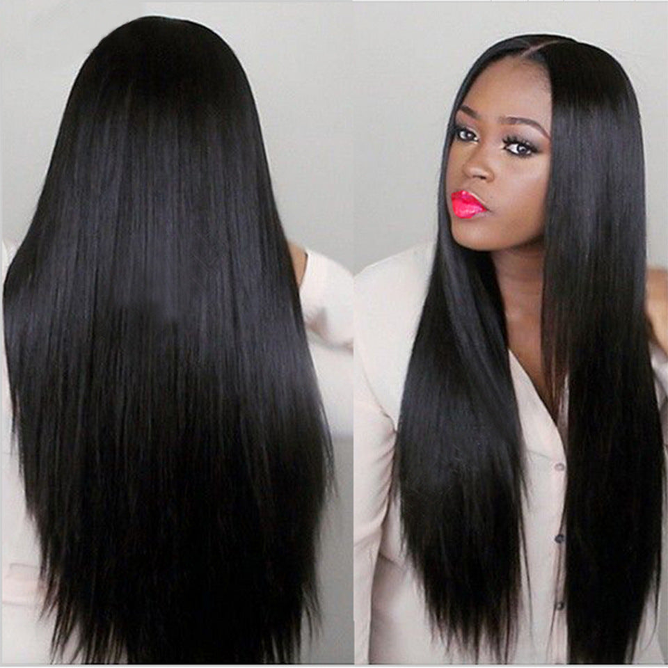 Women Middle Part Natural Black Straight Hair Wig