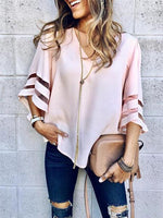 Plus Size Women V Neck Tops Three Quarter Sleeve Sweatshirt Pullover Blouse