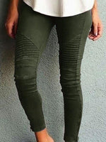 Pants - Plus Size Women's Fashion Solid Color Casual Slim Tight Pants
