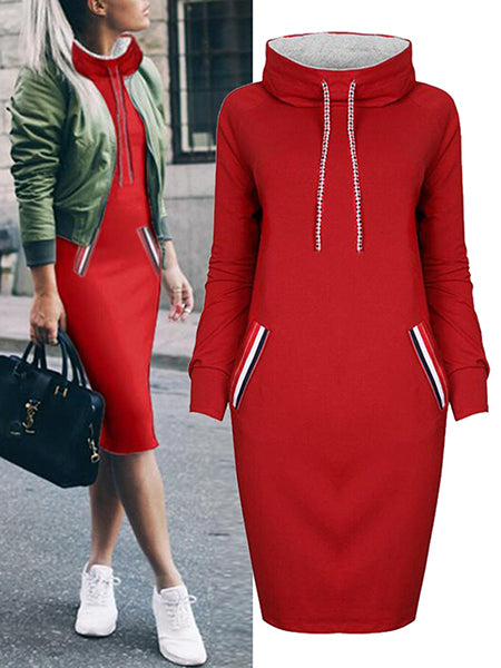 Dress - Long Sleeve Holiday Plain Turtleneck Hoody Dress