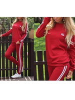 Womens Casual Sweatsuit Pullover Sweatshirt Pants Two-piece Set