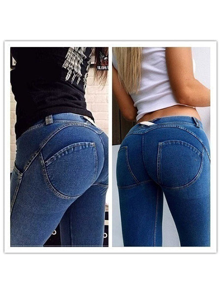 Sexy Buttock Lifting High Elastic Low Waist Skinny Jeans