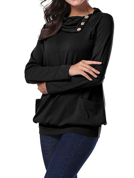 Womens Raglan Long Sleeve Cowl Neck Pullover Casual Tunic Sweatshirts Pockets