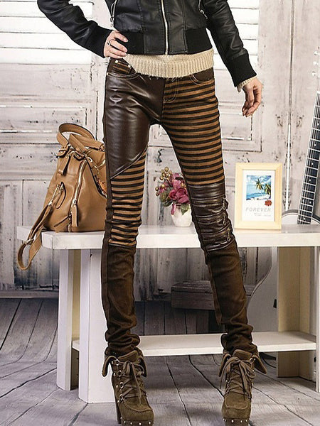 Copy of PU leather Jeans For Casual Pants Woman Denim Trouser pencil pants
