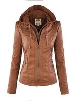 Long Sleeve Zipper Removable Hooded Leather Jackets