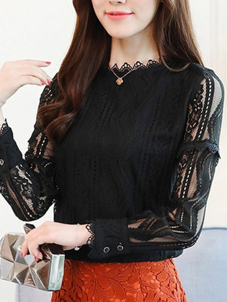 Womens Hollywood Sexy Lace Stripe Knitwear Long Sleeve Slim Shirt Top Blouse