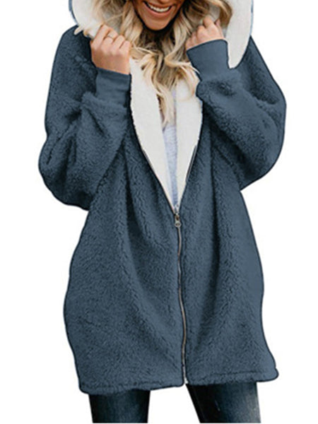 Fluffy Hooded Cotton-padded Jacket WomenCasual Zipper Hoodie Wool Sweatshirts Outwear