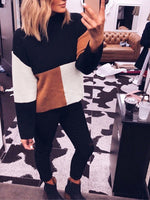 Colorblock Sweater Fashion Long Sleeve Turtleneck Pullover
