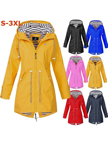 Waterproof Wind Jacket Solid Color Outdoor Hooded Outwear