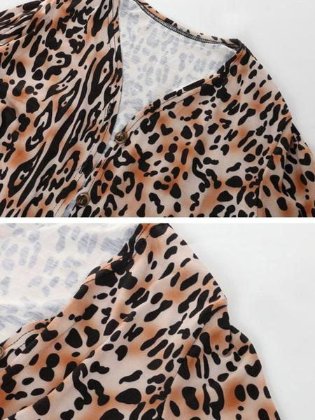 Women's Fashion V-neck Long-sleeve Leopard Print Jacket Sexy Daily Coat