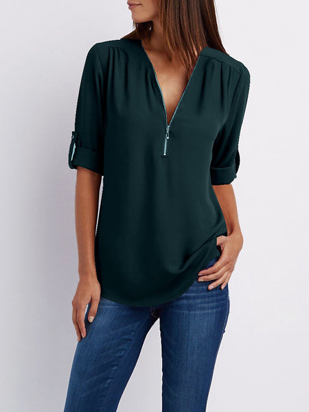 Blouse - Chiffon Half Sleeve Zipper Solid V neck High Low Plus Size Blouse