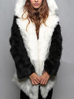 Coat - Ear Faux Fur Hoodie Mid Pattern Warm Coat