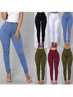 6 Colors Womens Casual Slim Sexy Elastic Waisted Trousers Casual Vintage Skinny Pants