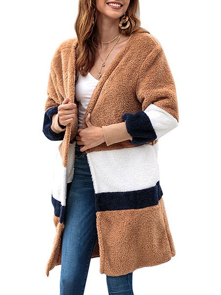 Coat - Casual Knitted Cashmere Striped Quilted Coat
