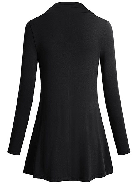 Long Sleeve Cowl Neck Asymmetrical Hemline Flowy Tunic Top