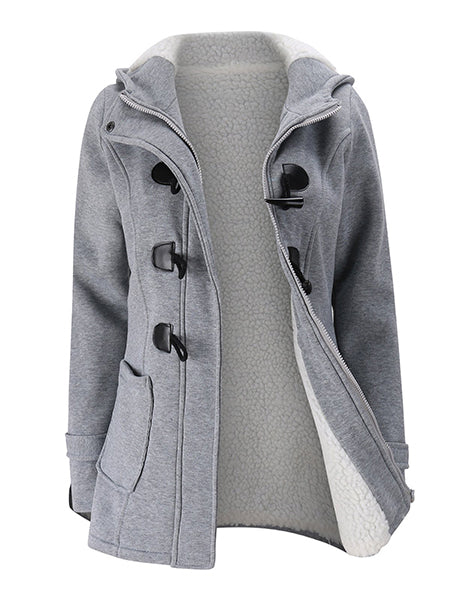 Coat - Women Horn Button Cotton Fleece Hooded Duffle Coat