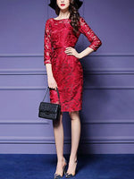 Vintage Vestidos Mesh Hollow Out O-neck Knee Length Female Bodycon Women Dresses