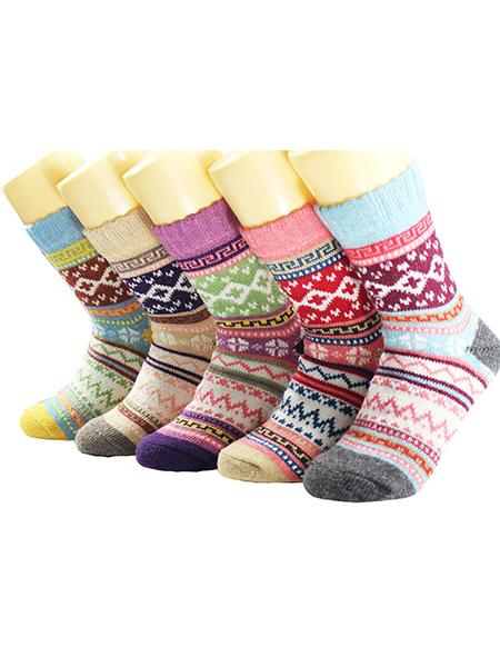 Pack of 5/10 Womens Vintage Winter Soft Warm Thick  Wool Cozy Crew Socks