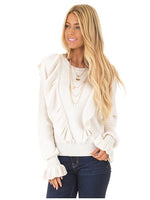 Casual Solid Long Sleeve Knitted Sweater