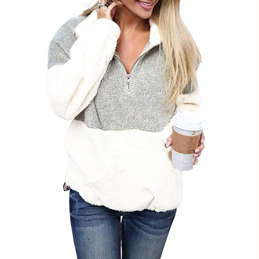 Women Casual Splice Zipper Sweater Sweatshirt Pullover Jumper Coat Jacket Hoodie