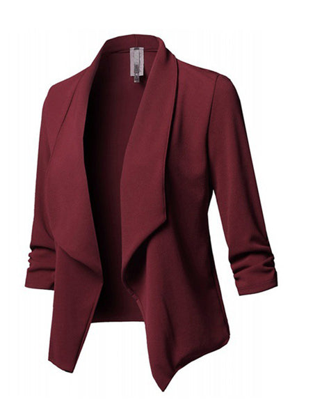 Blazer - Shawl Collar Cotton Solid Elegant Blazer