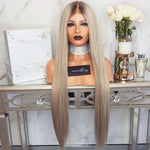 Women Middle Part Ombre Gray Straight Wave Hair Wig