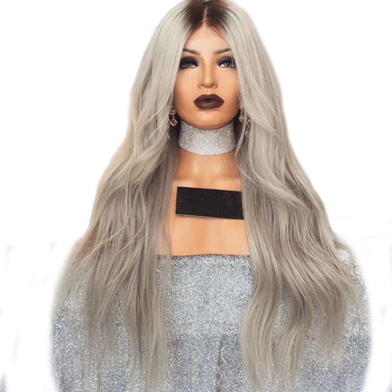 Women Middle Part Ombre Gray Natural Wave Hair Wig