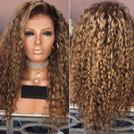Women Free Parting Natural Brown Deep Curly Hair Wig