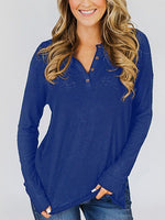 Women's Long Sleeve Henley Tops Button Down Pullover Blouse