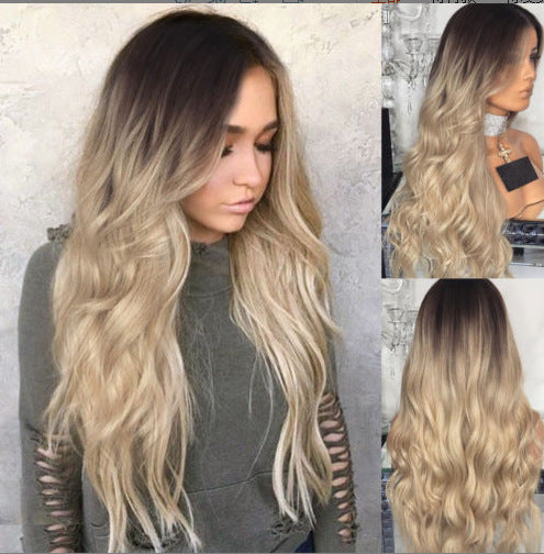 Women Middle Part Ombre Blond Wave Hair Wig Super Natural and Soft