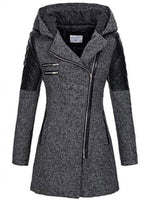 Fashion Patchwork Black Female Warm Windproof Overcoats