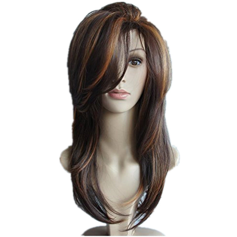 Women Free Parting Natural Brown Curl Hair Wig