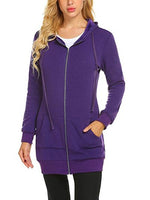 Women Casual Zip up Fleece Hoodies Tunic Sweatshirt Long Hoodie Jacket