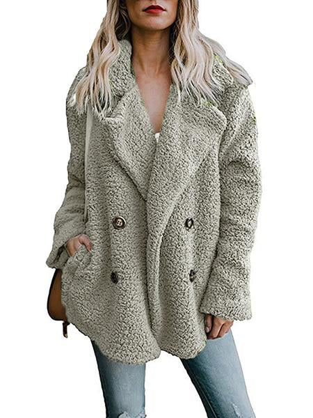 New Long Sleeve Double-Breasted Fur Coat