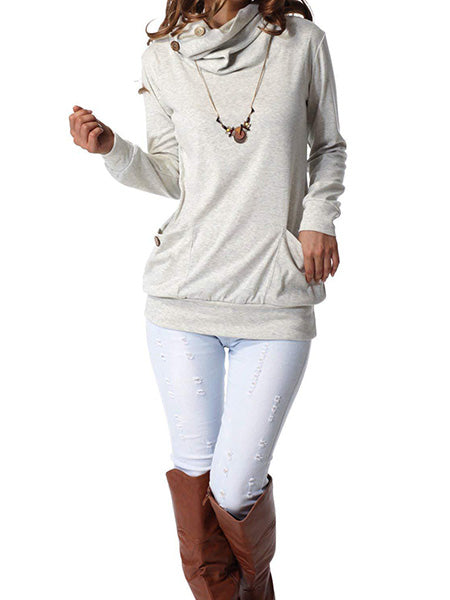 Button Cowl Neck Slim Tunic Tops with Pockets