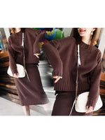 Solid Two Piece Long Sleeve Slit Knitted Women's Set
