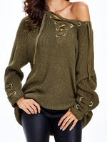 Lace Up Criss-Cross Long Sweater