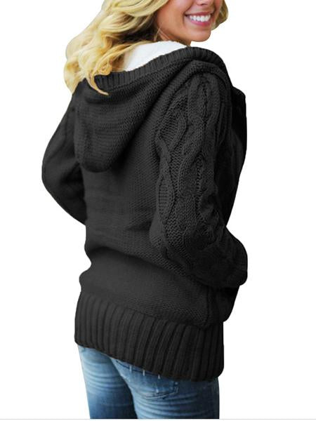 Womens Hooded Cardigans Button Down Cable Knit Sweater Coat Outwear Pockets