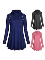 Long Sleeve  With Button Embellished Casual Ladies Tunic Tops
