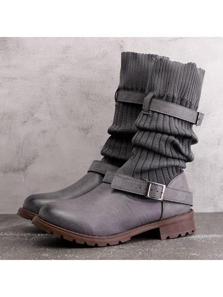 Comfy Cabin Vintage PU Paneled Adjustable Buckle Sweater Boots